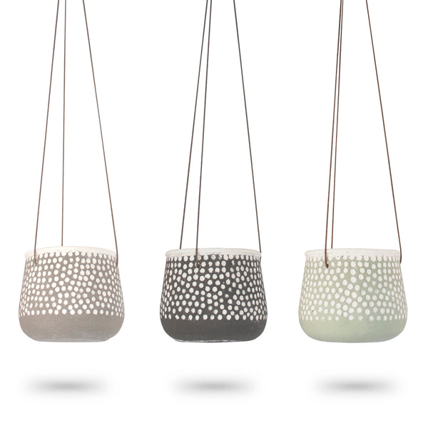 Concrete Polka Dot Hanging Planter