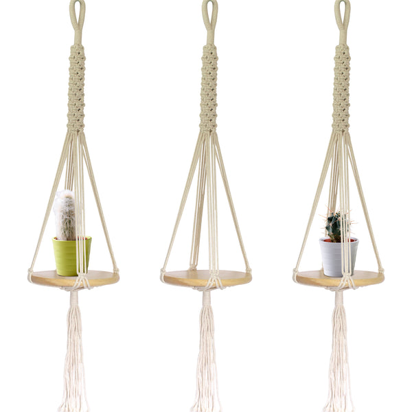 3 Macrame Hanging Round Shelves
