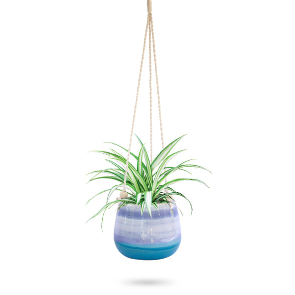Ceramic Hanging Planter Blue Horizon