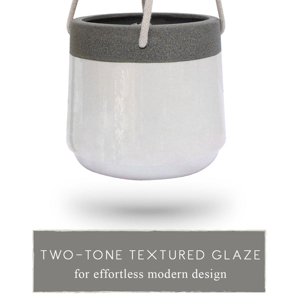 Two-Tone Textured Glaze Ceramic Hanging Planter (2 Pack)