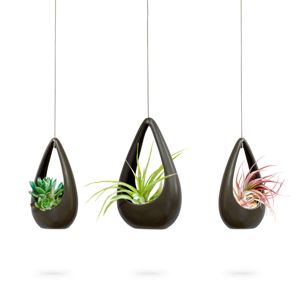 Three Ceramic Hanging Pots (Gray)
