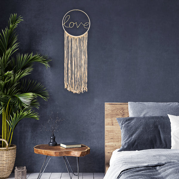 LED Light Up Macrame Wall Hanging Dream Catcher (Love)
