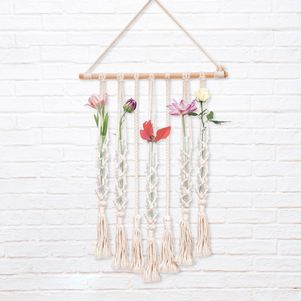 Macrame Wall Hanging Glass Flower Container