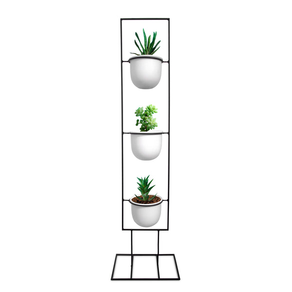 Black Metal Plant Stand with White Pots