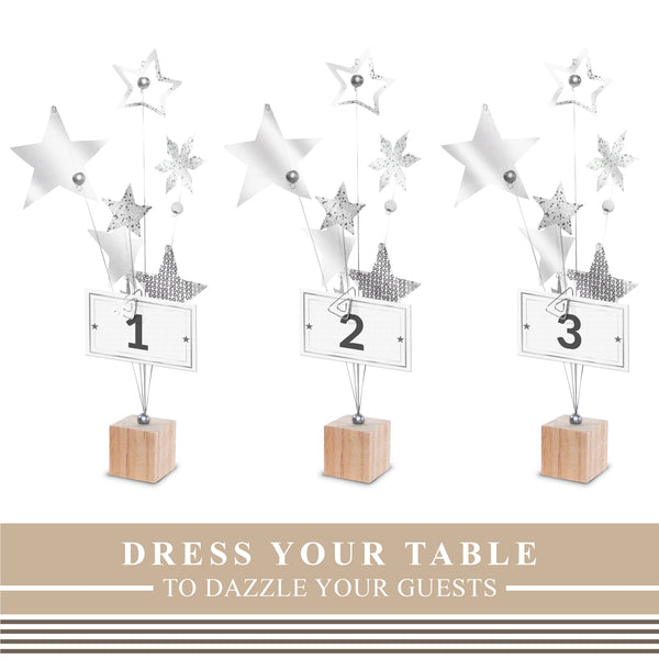 Silver Star Photo Table Number Holder (6 Pack)