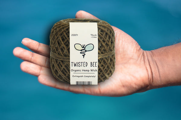 Thick 2mm Organic Hemp Wick - Beeswax Coated (200ft)