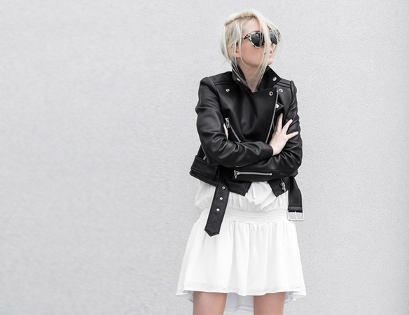 FIGTNY // MOTO LEATHER JACKET X CAPRI DRESS