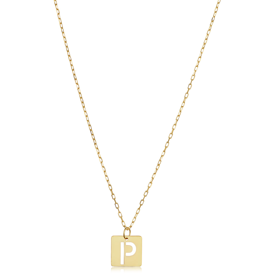 14K Gold Paris Initial Necklace