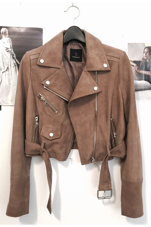PRIMARY + LOOKAST Cropped Suede Moto Jacket
