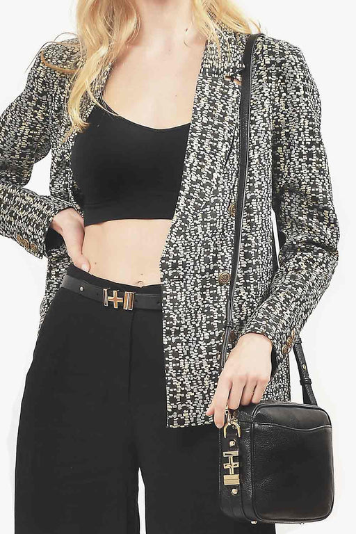 Cutout Metallic Blazer - Primary New York