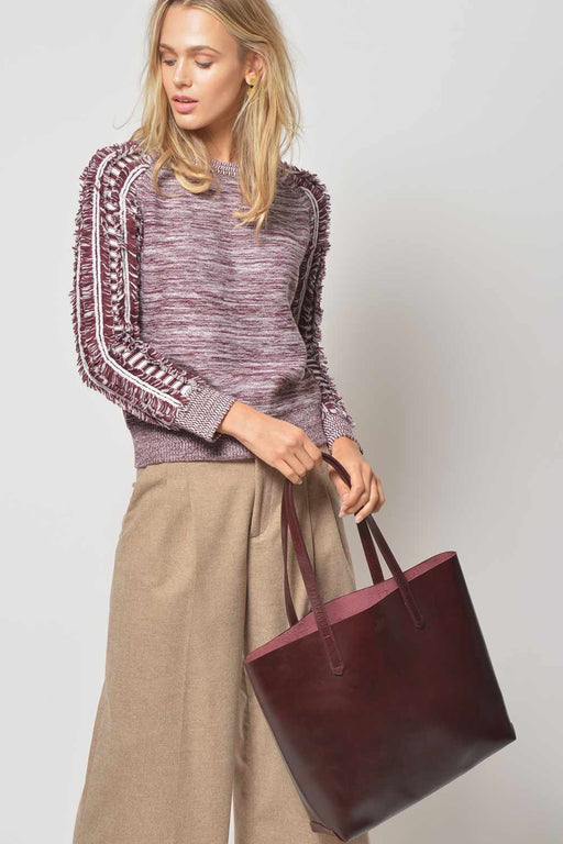 Merino Fringe Sweater // Bordeaux