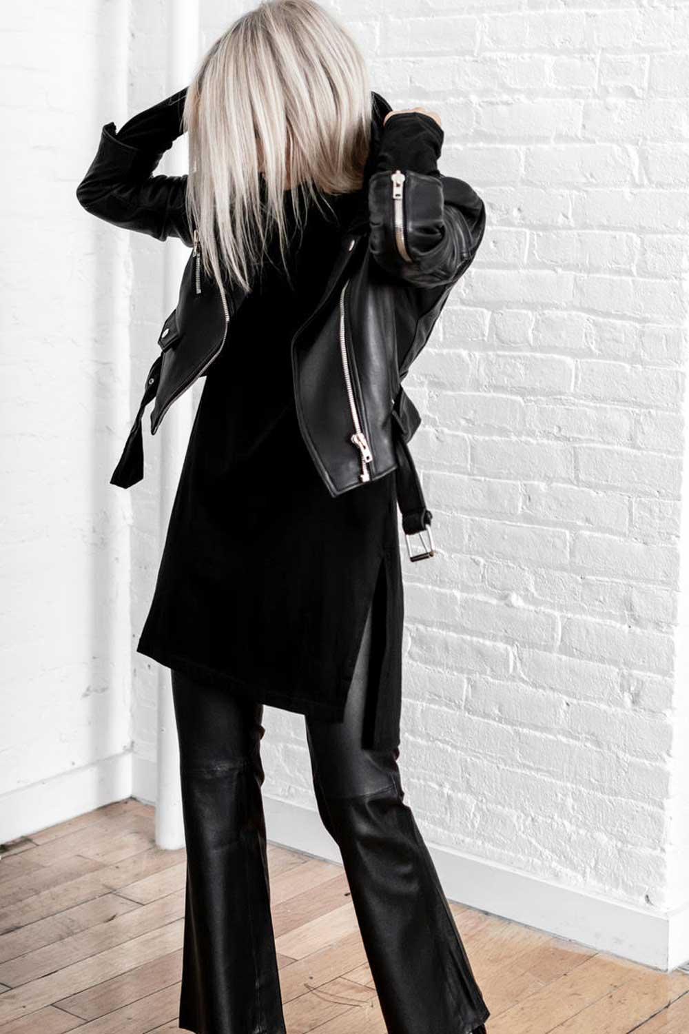 PRIMARY + LOOKAST Cropped Leather Moto Jacket