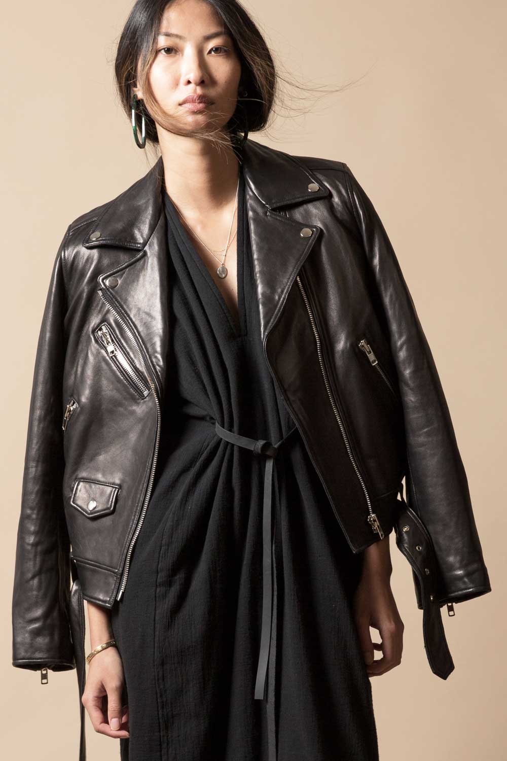 PRIMARY + LOOKAST Full Length Leather Moto Jacket