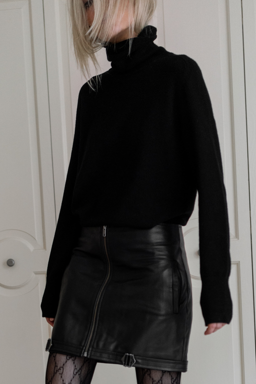 Zipper Leather Skirt