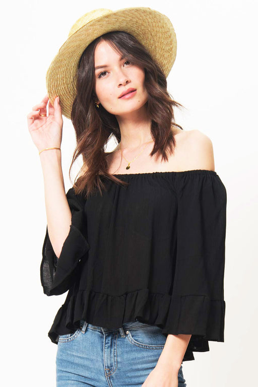 Coby Cold Shoulder Ruffle Top // Black