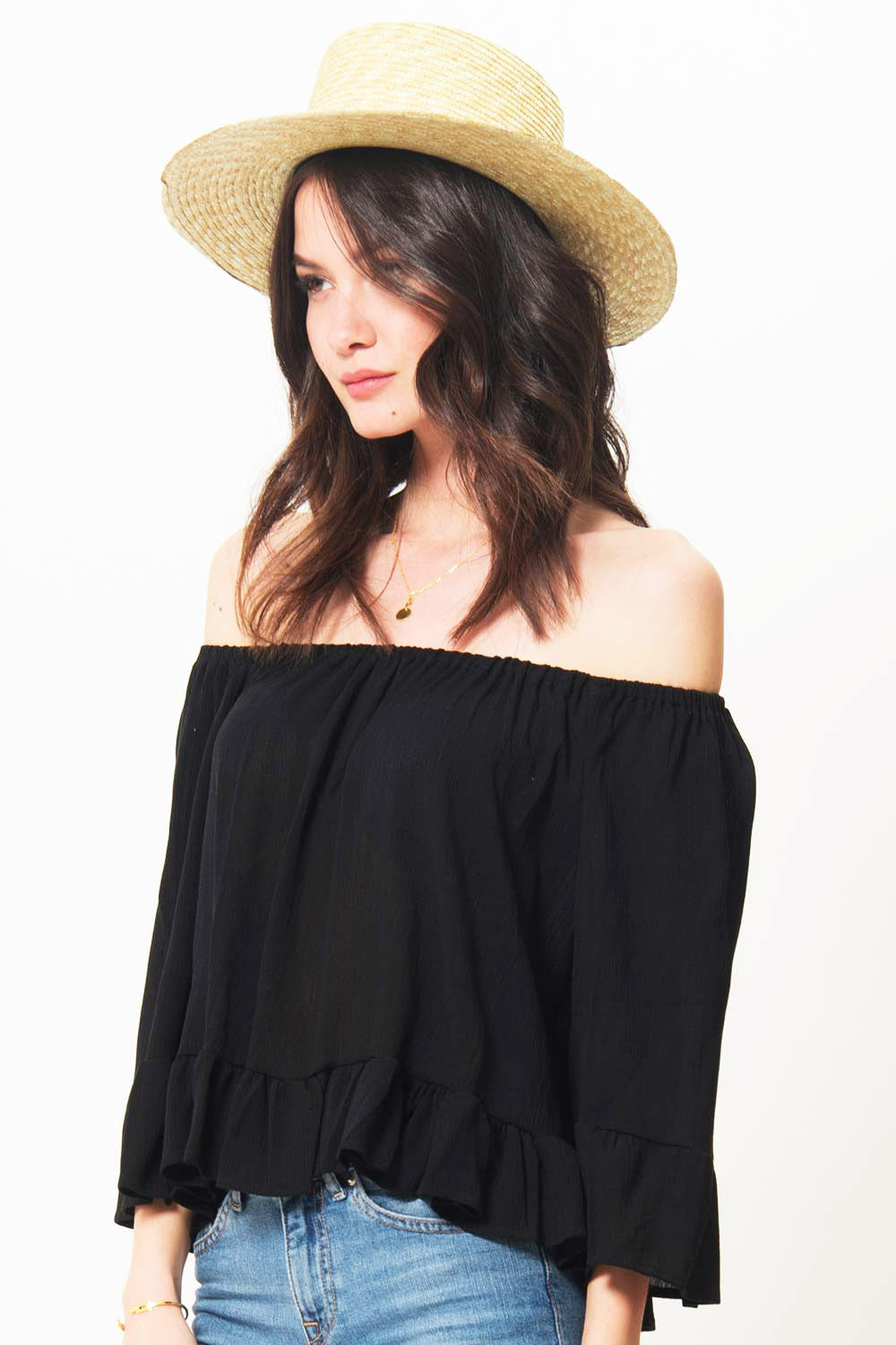 Coby Cold Shoulder Ruffle Top - Primary New York