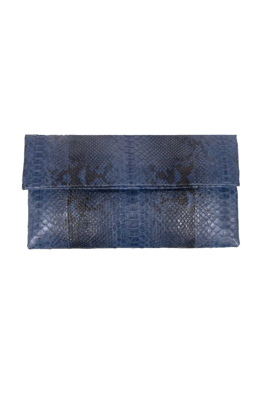 Primary New York Python Prime Clutch Steel Blue