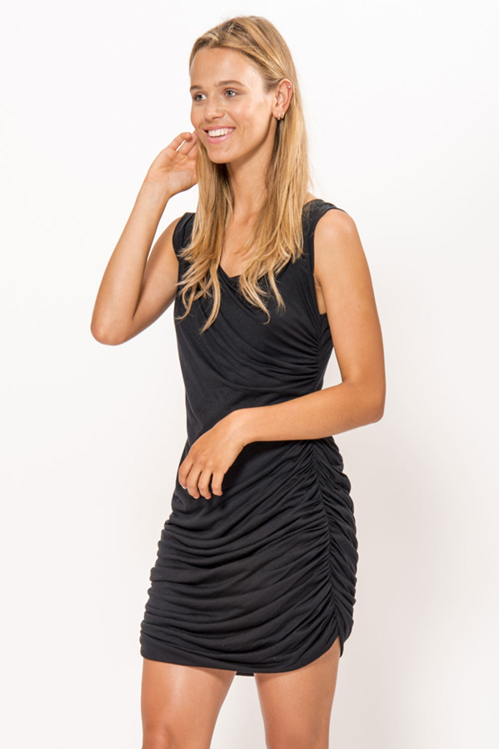 Shirred Black Dress - Primary New York