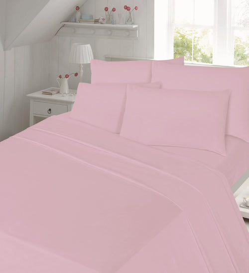 Pink Thermal Flannel Plain Extra Deep Fitted Sheet .