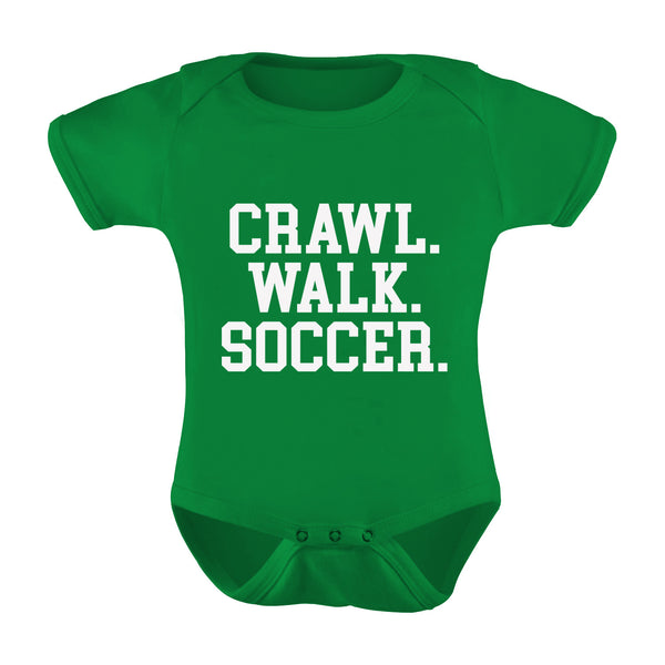 """Crawl. Walk. Soccer."" Infant Romper"