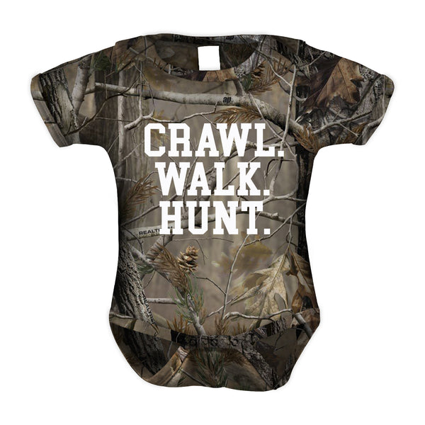 """Crawl, Walk, Hunt"" Camouflage Baby Romper"