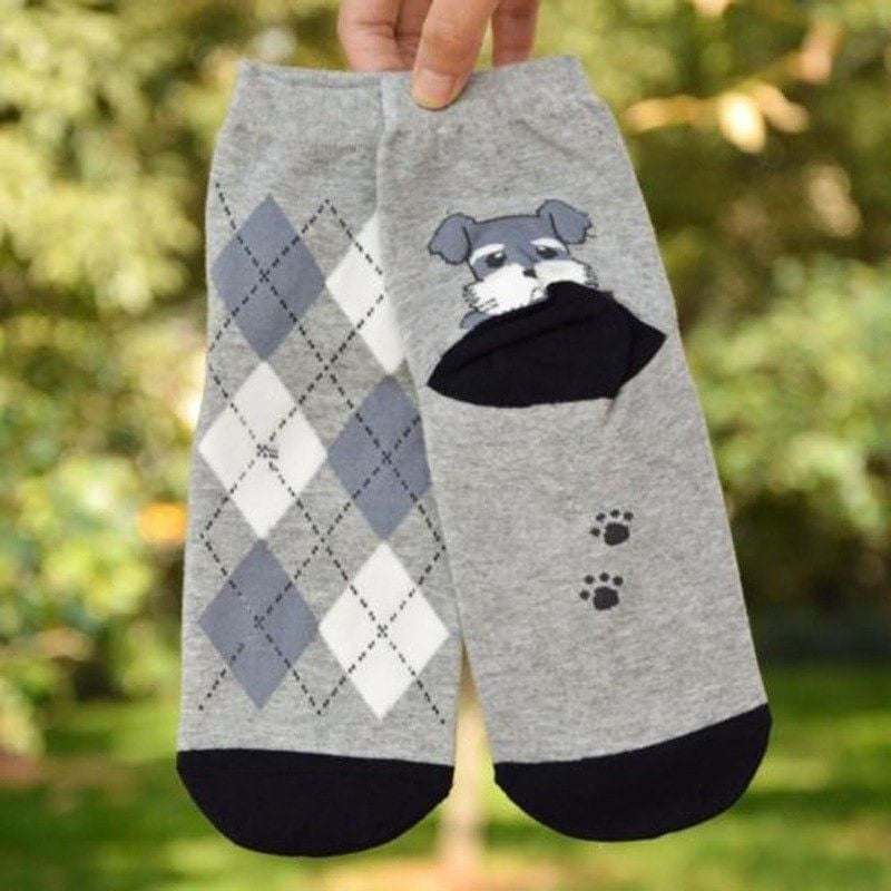 3D Puppy Printed Cotton Socks-Themed Gifts-Schnauzer-Pets Hub Home