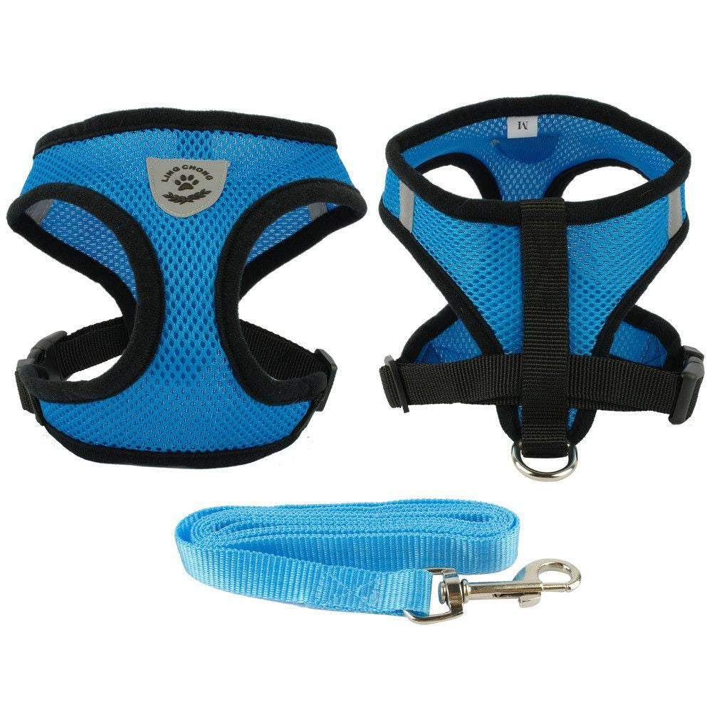 Breathable Mesh Dog Vest Harness and Leash-Safety-Blue-S-Pets Hub Home