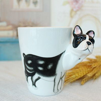 Ceramic Mug 3D Animal Shape Hand Painted-Themed Gifts-Bulldog-400ml-Pets Hub Home