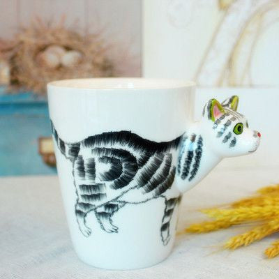 Ceramic Mug 3D Animal Shape Hand Painted-Themed Gifts-Cat-400ml-Pets Hub Home