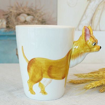 Ceramic Mug 3D Animal Shape Hand Painted-Themed Gifts-Chihuahua-400ml-Pets Hub Home