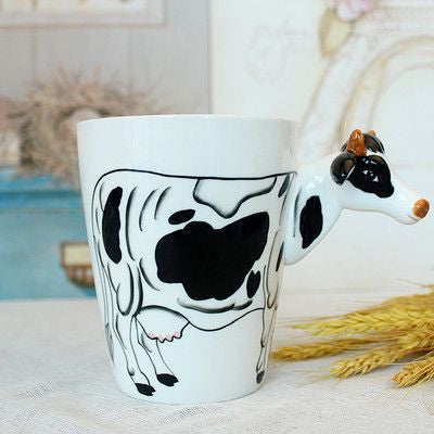 Ceramic Mug 3D Animal Shape Hand Painted-Themed Gifts-Cow-400ml-Pets Hub Home