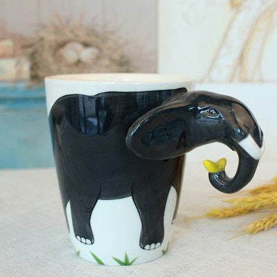 Ceramic Mug 3D Animal Shape Hand Painted-Themed Gifts-Elephant-400ml-Pets Hub Home