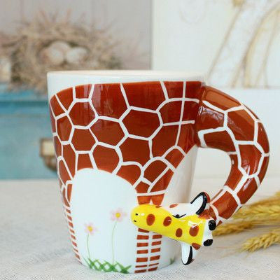 Ceramic Mug 3D Animal Shape Hand Painted-Themed Gifts-Giraffa-400ml-Pets Hub Home