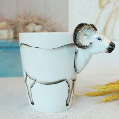 Ceramic Mug 3D Animal Shape Hand Painted-Themed Gifts-Goat-400ml-Pets Hub Home