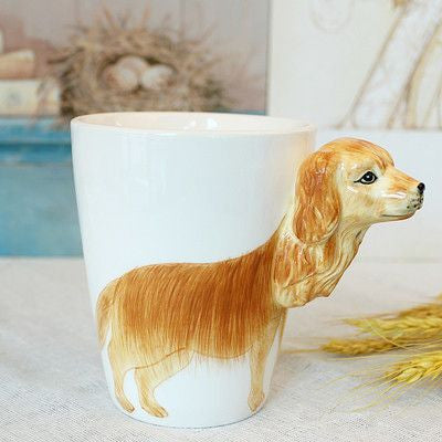 Ceramic Mug 3D Animal Shape Hand Painted-Themed Gifts-Golden Retriever-400ml-Pets Hub Home