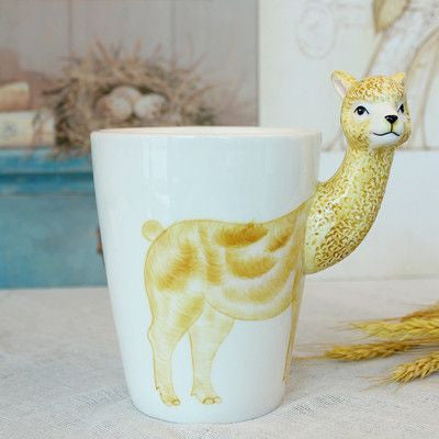 Ceramic Mug 3D Animal Shape Hand Painted-Themed Gifts-Grass Mud Horse-400ml-Pets Hub Home