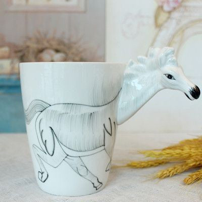 Ceramic Mug 3D Animal Shape Hand Painted-Themed Gifts-Horse-400ml-Pets Hub Home