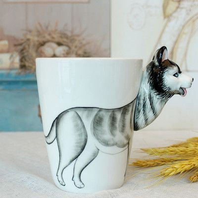 Ceramic Mug 3D Animal Shape Hand Painted-Themed Gifts-Husky-400ml-Pets Hub Home