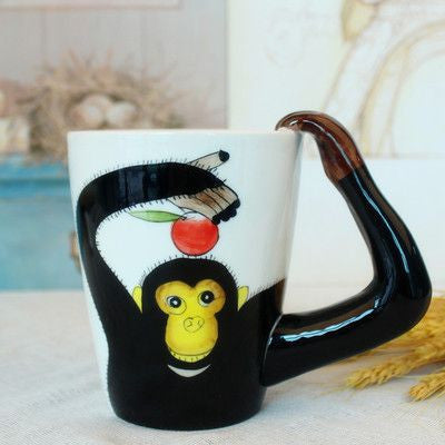 Ceramic Mug 3D Animal Shape Hand Painted-Themed Gifts-Orangutan-400ml-Pets Hub Home