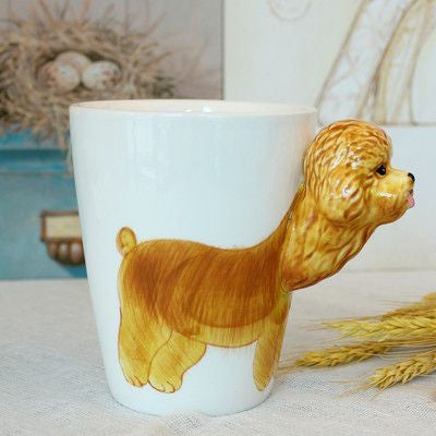 Ceramic Mug 3D Animal Shape Hand Painted-Themed Gifts-Poodle-400ml-Pets Hub Home