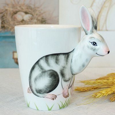 Ceramic Mug 3D Animal Shape Hand Painted-Themed Gifts-Rabbit-400ml-Pets Hub Home