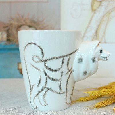 Ceramic Mug 3D Animal Shape Hand Painted-Themed Gifts-Samoyed-400ml-Pets Hub Home