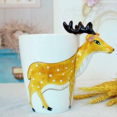Ceramic Mug 3D Animal Shape Hand Painted-Themed Gifts-Sika Deer-400ml-Pets Hub Home