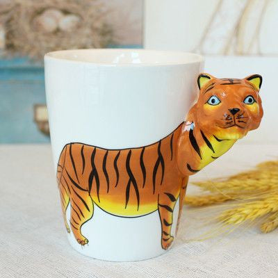 Ceramic Mug 3D Animal Shape Hand Painted-Themed Gifts-Tiger-400ml-Pets Hub Home
