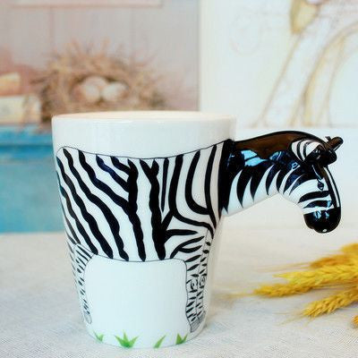 Ceramic Mug 3D Animal Shape Hand Painted-Themed Gifts-Zebra-400ml-Pets Hub Home