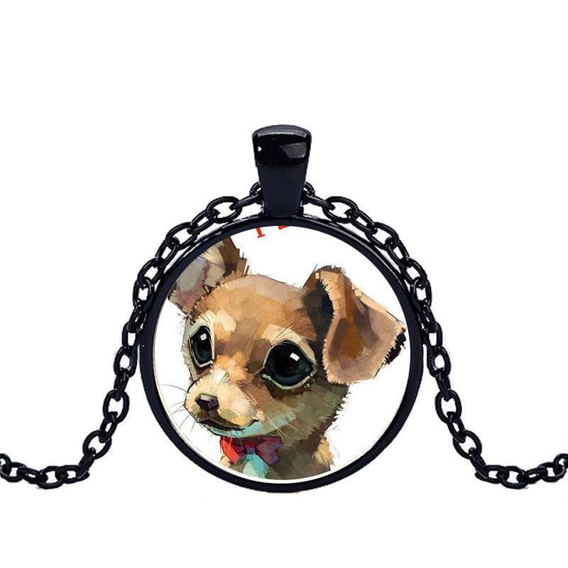 Chihuahua in a Crystal Dome Fashion Pendant Necklace-Themed Gifts-black 1-Pets Hub Home