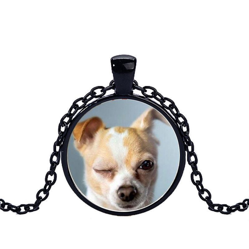 Chihuahua in a Crystal Dome Fashion Pendant Necklace-Themed Gifts-black 2-Pets Hub Home