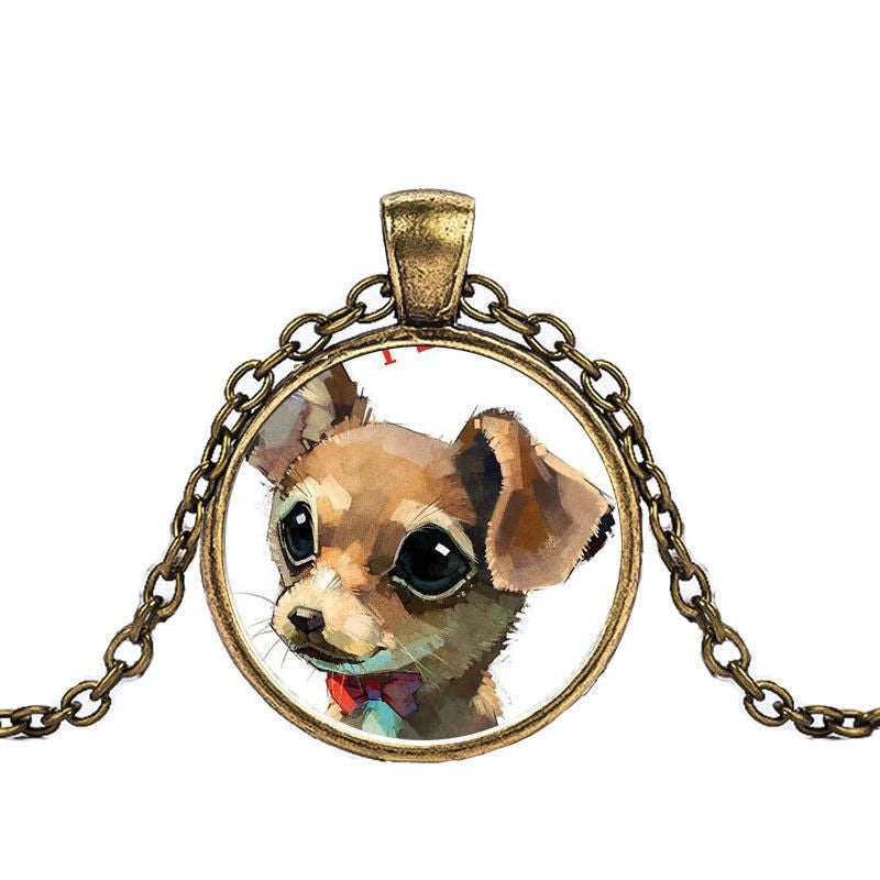 Chihuahua in a Crystal Dome Fashion Pendant Necklace-Themed Gifts-bronze 1-Pets Hub Home