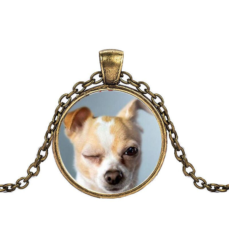 Chihuahua in a Crystal Dome Fashion Pendant Necklace-Themed Gifts-bronze 2-Pets Hub Home