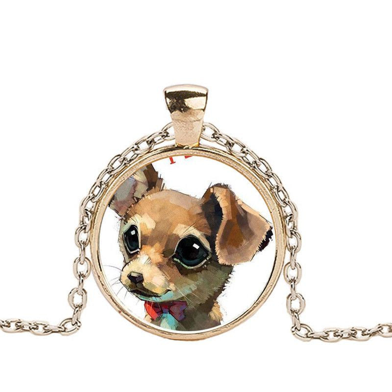 Chihuahua in a Crystal Dome Fashion Pendant Necklace-Themed Gifts-gold 1-Pets Hub Home